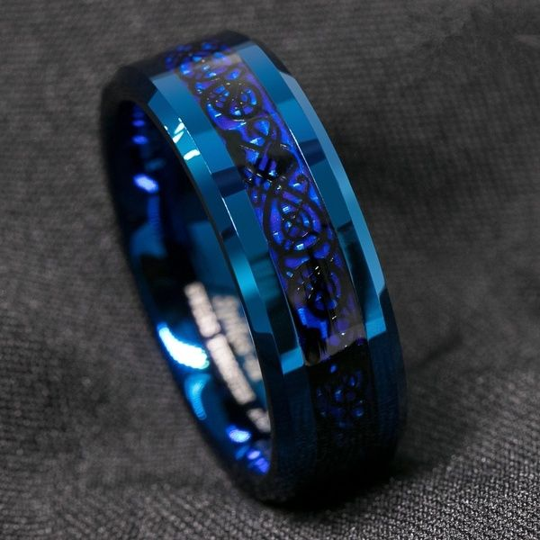 8mm Blue Tungsten Carbide Ring Carbon Fibre Black Celtic Dragon Men S Jewelry In 2020 Blue Rings Rings For Men Mens Stainless Steel Rings