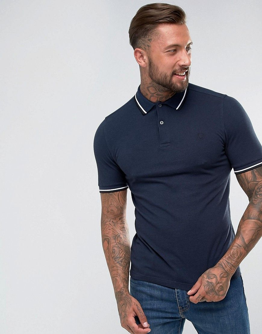 9d7fab7d1 Fred Perry Slim Fit Tipped Oxford Weave Polo In Navy - Navy