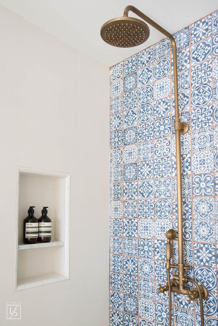 las palmas // blue decorative shower wall tile // brass shower ...