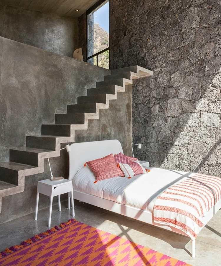 Graue Naturstein Wand Beton Für Ein Modernes Haus Mit