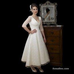 111 elegante teelange Brautkleider Vintage (10)