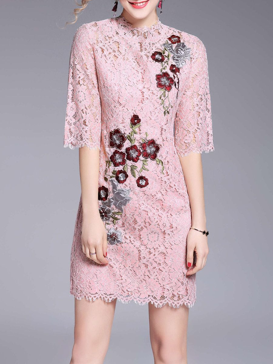 423fab9bc1  AdoreWe StyleWe Mini Dresses - OULIE Lace Crew Neck Half Sleeve Floral-embroidered  Girly