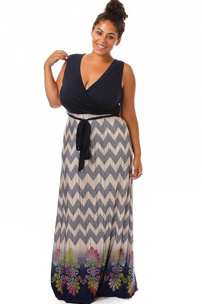 3c5d460a23e Chevron Floral Print V-neck Cap Sleeve Maxi Dress