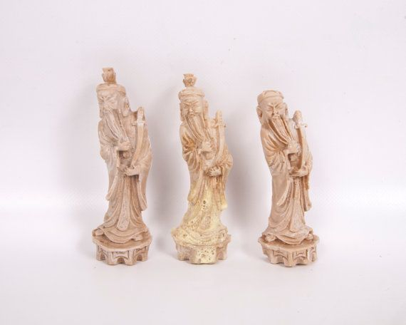 Vintage Oriental Wise Men Hand Carved Marble by LeVintageGalleria