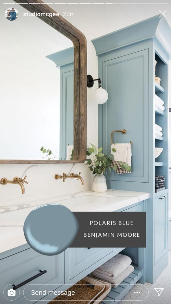 The Grey Cabinet Paint Color Is Benjamin Moore Kendall Charcoal Greycabinet Paintcolor Benjaminmooreken Bathrooms Remodel Bathroom Design Painting Bathroom