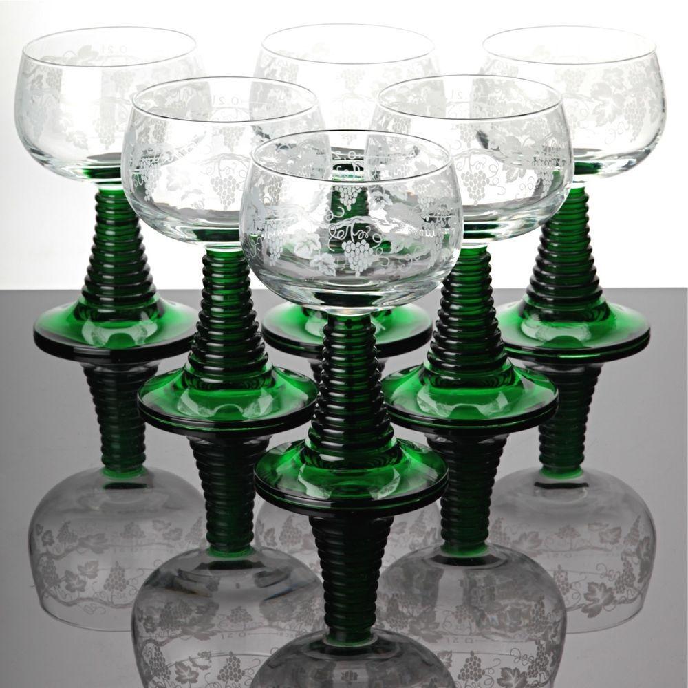 Römergläser 6 römer gläser weingläser 0 2l geeicht grün römergläser