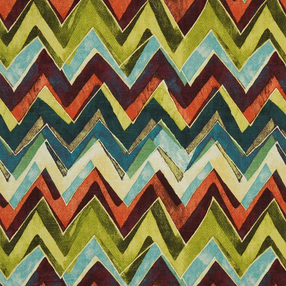 Modern Orange Teal Chevron Upholstery Fabric By Por Popdecorfabrics