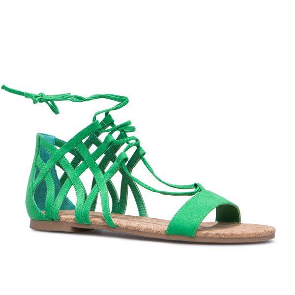 Shoedazzle Sandals Green Nyda Flat Womens 3LR54Aj