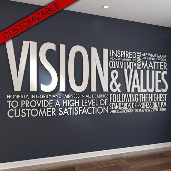 Vision Amp Values 3d Letters Office Wall Art Wall