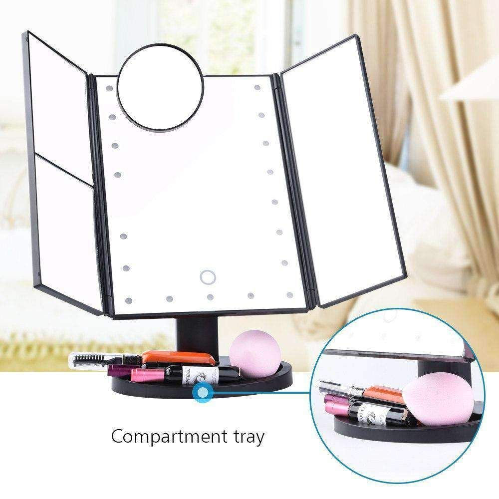 Folding Touchscreen 3 Panel Led Makeup Mirror Makeup Mirror With