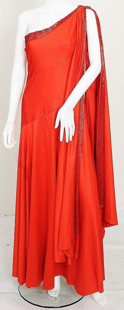 1677b574f4d A red silk jersey dress and red beaded headress worn by the character of Dale  Arden in 1980 film Flash Gordon (played by Melody Anderson)