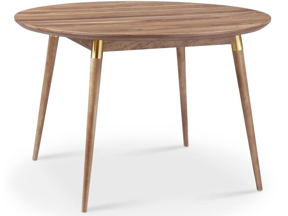 Victory Round Dining Table Walnut Gold Dining Table Round