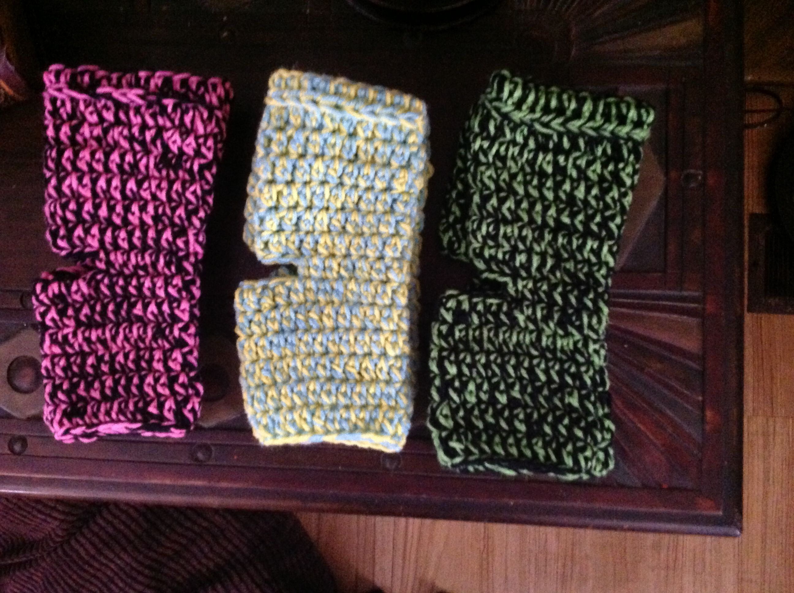 Made more yoga socks to match my workout clothes...the lime green & black look better in person