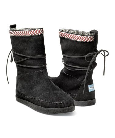 2f1409daa1d Black Suede-Trim Nepal Boot by TOMS  zulilyfinds These are so cute!!!