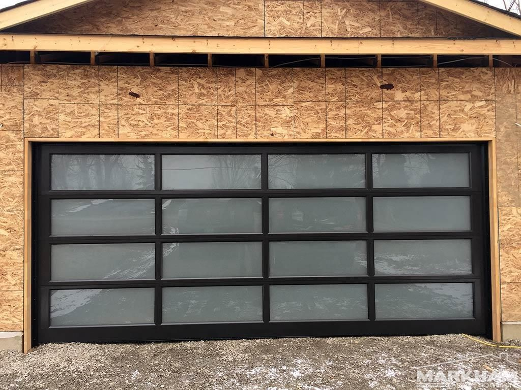 Full View Aluminum Garage Door Dark Bronze Frosted Glass Garage