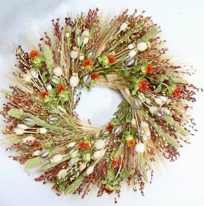 It Could Not Get Any More Playful Than With This Adorable Poppy Pods Dried Floral Wreath A Mixture Of Homeg Bird Wreath Dried Flower Wreaths Wreaths