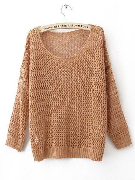Orange Round Neck Long Sleeve Hollow Cotton Blends Sweater :)