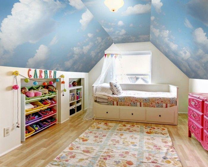 wandmalerei kinderzimmer wolken schöne zimmerdecke teppich - wnde kinderzimmer