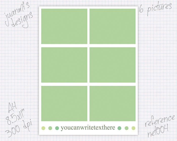 Photo collage notebook cover template 8.5x11 inches & A4 (6 pictures ...