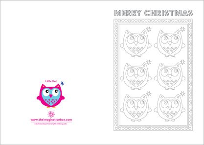 The Imagination Box, u0027Little Owlu0027 A5 Christmas Card to colour in - printable christmas card templates