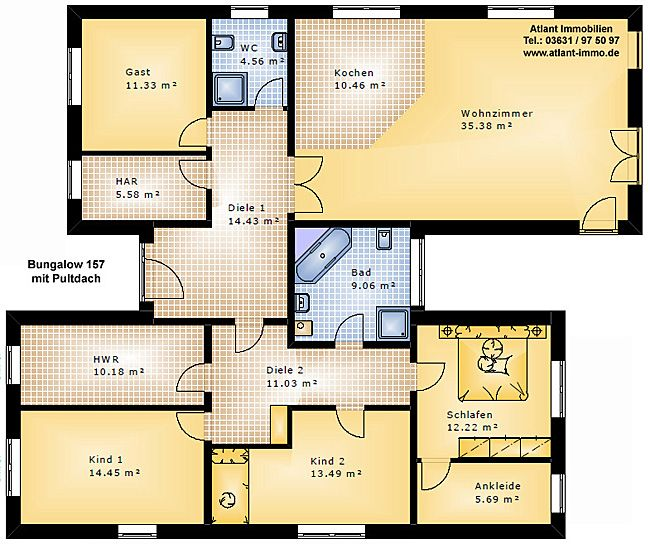 bungalow 157 mit pultdach einfamilienhaus neubau massivbau. Black Bedroom Furniture Sets. Home Design Ideas