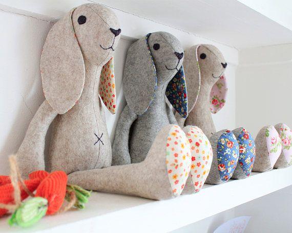 Rabbit Stuffed animal pattern bunny rabbit instant download | Sewing ...