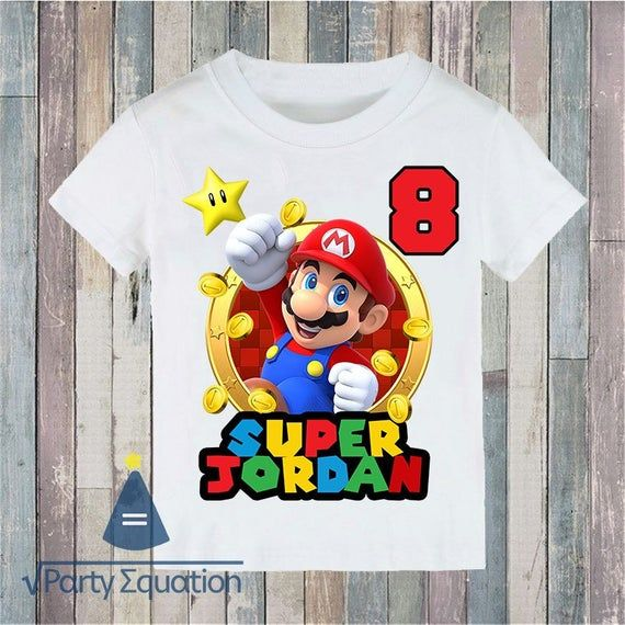 All Colors!!! All Sizes Mario Custom T-Shirt With Your Name and//or Birthday!