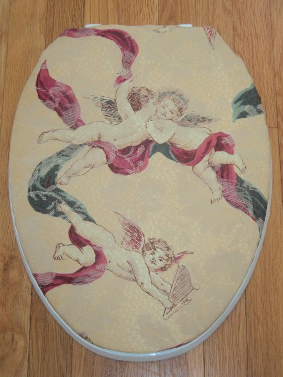 burgundy toilet seat cover. gold and burgundy cherub toilet seat cover b