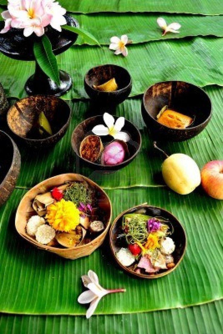 balinese hindu offerings with fruit Bali Floating Leaf Eco