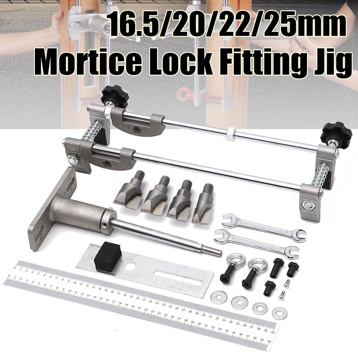 16 51 Aud 90mm Mortice Door Lock Fitting Jig Kit Carbide Tip Wood Metal Hole Cutter Tool Ebay Home Garden Wood Cutter Door Fittings Mortice Lock