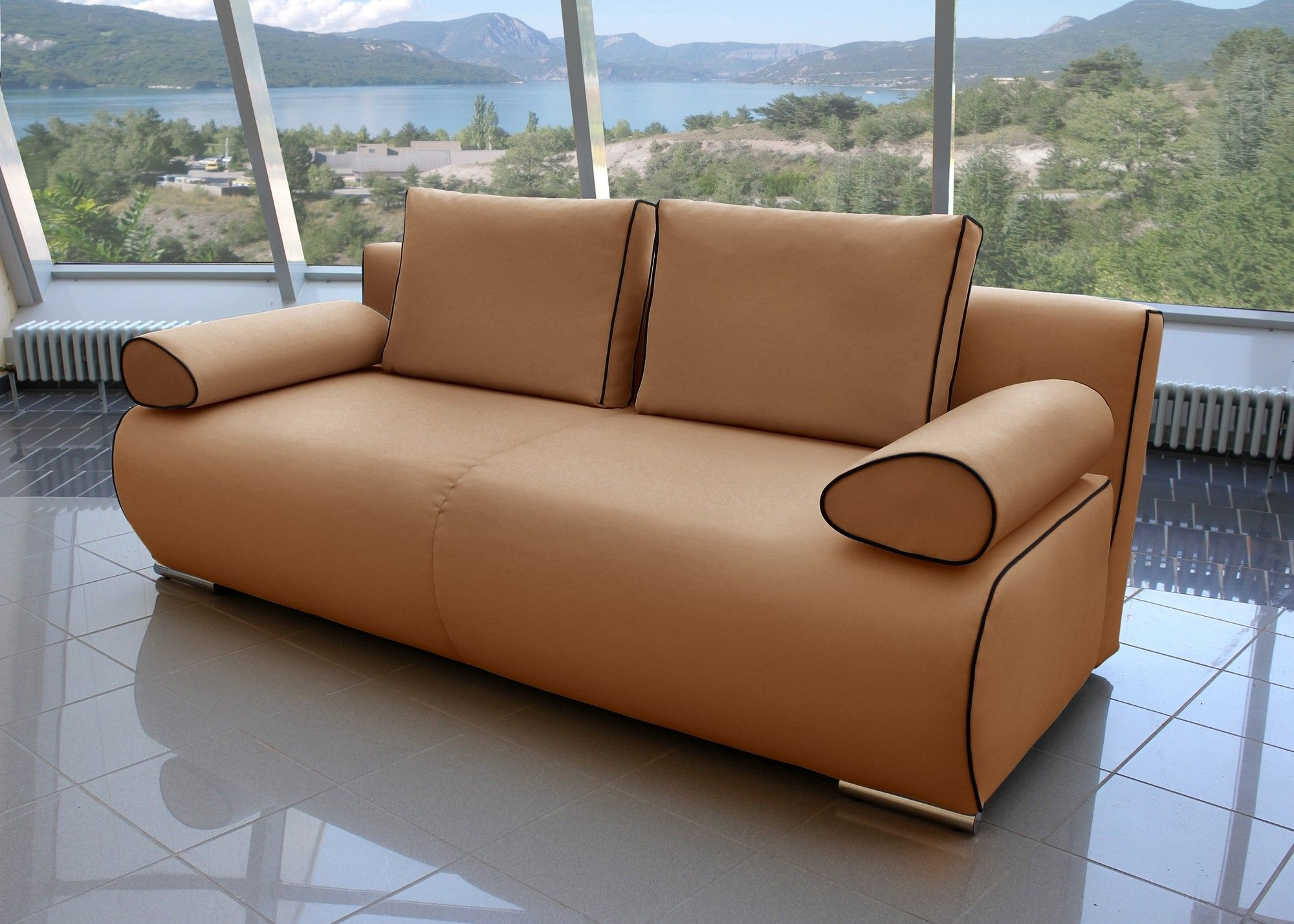 Bettsofa Kapua Design Schlafsofa Camel mit Schwarz 21541. Buy now at ...