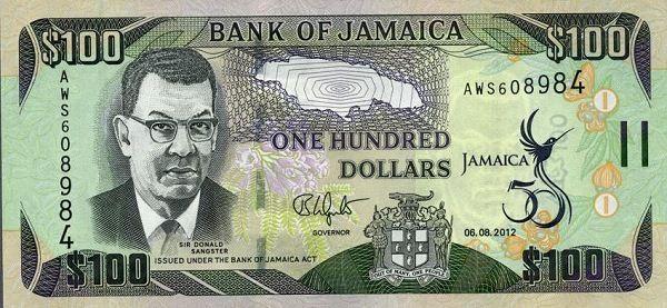 Jamaica 100 Dollar Bill