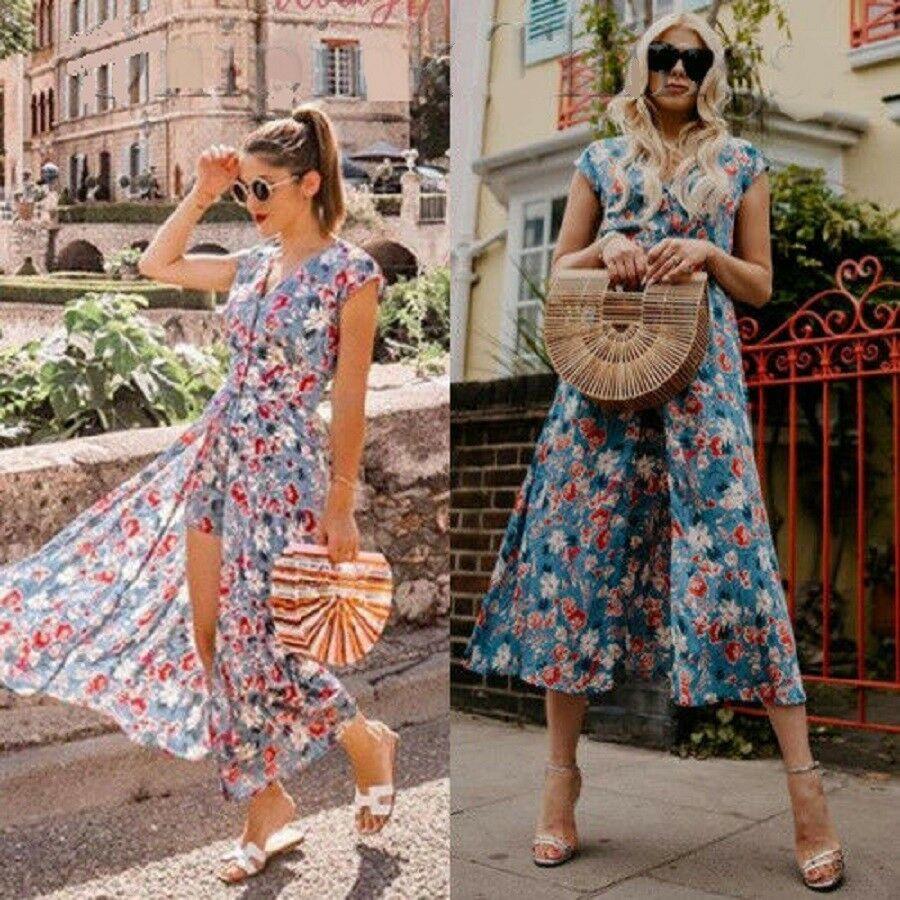 54ae8aca NWT ZARA Jumpsuit Dress with Floral Print Midi Size M Ref. 7768/233 #ZARA  #Casual