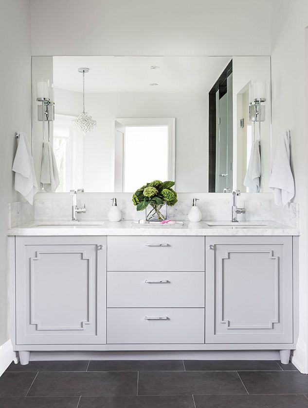 Gorgeous Gray Vanity With Marble Top White Vanity