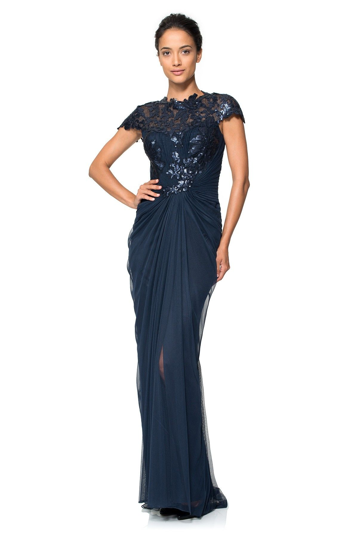 Paillette Lace And Tulle Gown In Navy Tadashi Shoji
