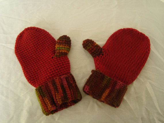 Large size Mittens for a man Fall color and Red by TheJollyHooker