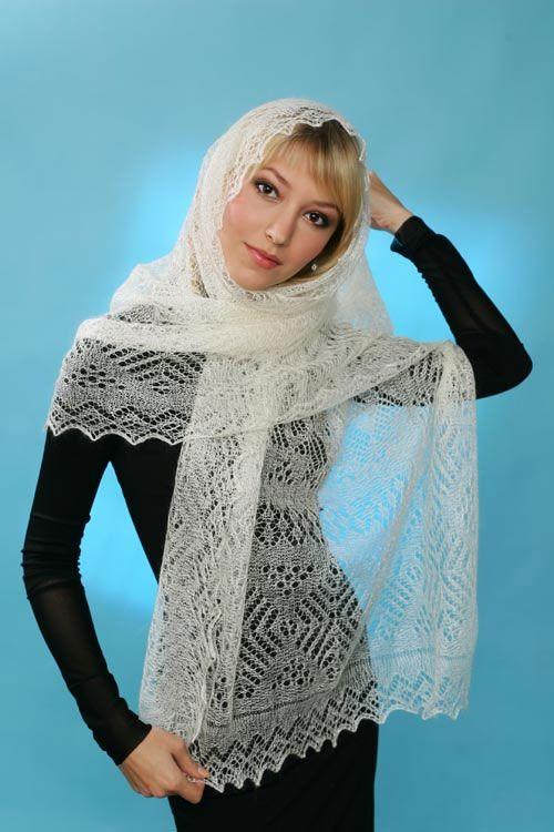 (03802) Оренбургский пуховый платок паутинка белый