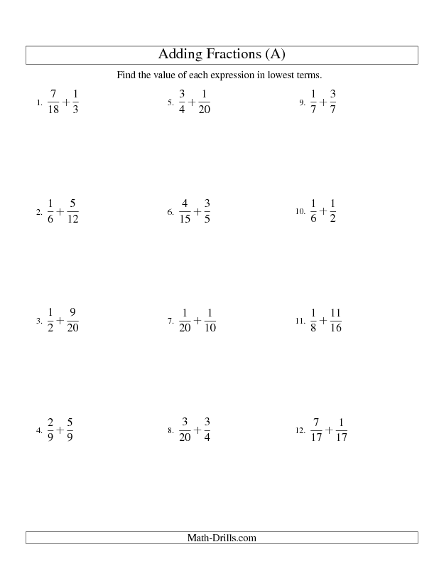 Fractions Worksheet Adding Fractions With Easy To Find Common Denominators All Fractions Worksheets Adding Fractions Subtracting Fractions