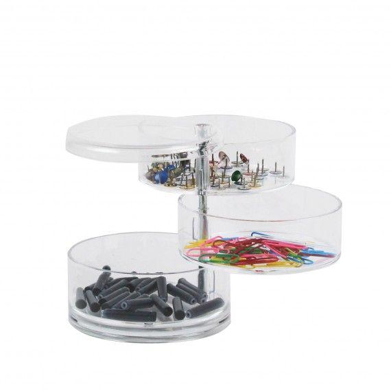 bo te de rangement cylindrique en acrylique avec 3 niveaux. Black Bedroom Furniture Sets. Home Design Ideas