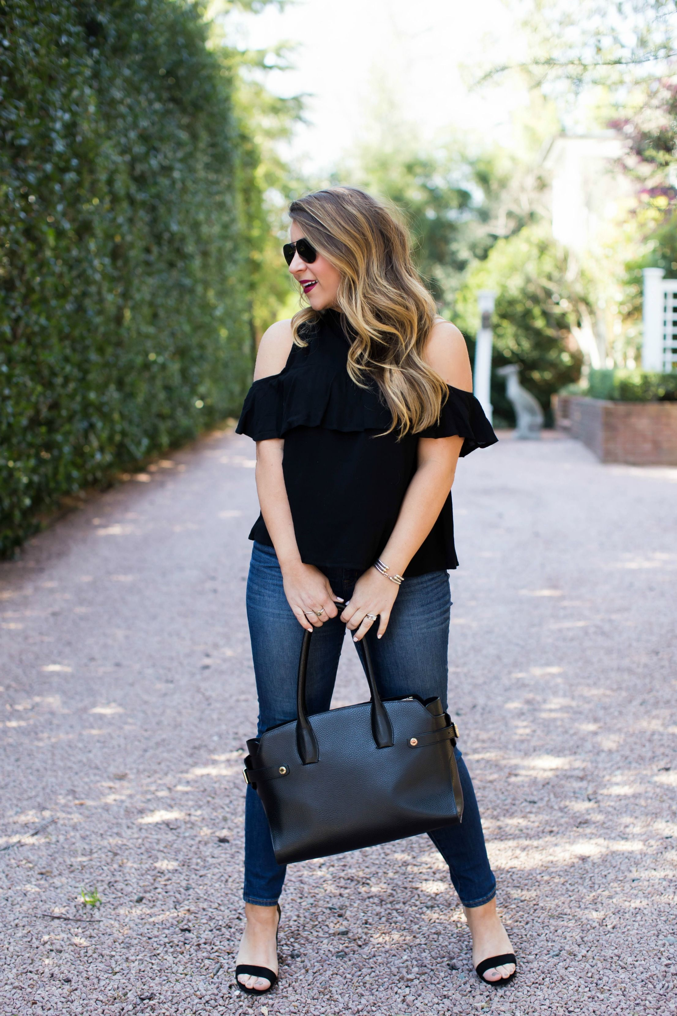 6557613e4b769 Cold Shoulder Tops and Why You CAN Wear Them - click through for my tips on  how to style a cold shoulder top!