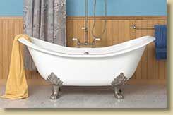 Sunrise Specialty Elegance Double Slipper Tub With Lion S Paw Feet Clawfoot Tub Blue Bathroom Walls Clawfoot Tub Shower Curtain