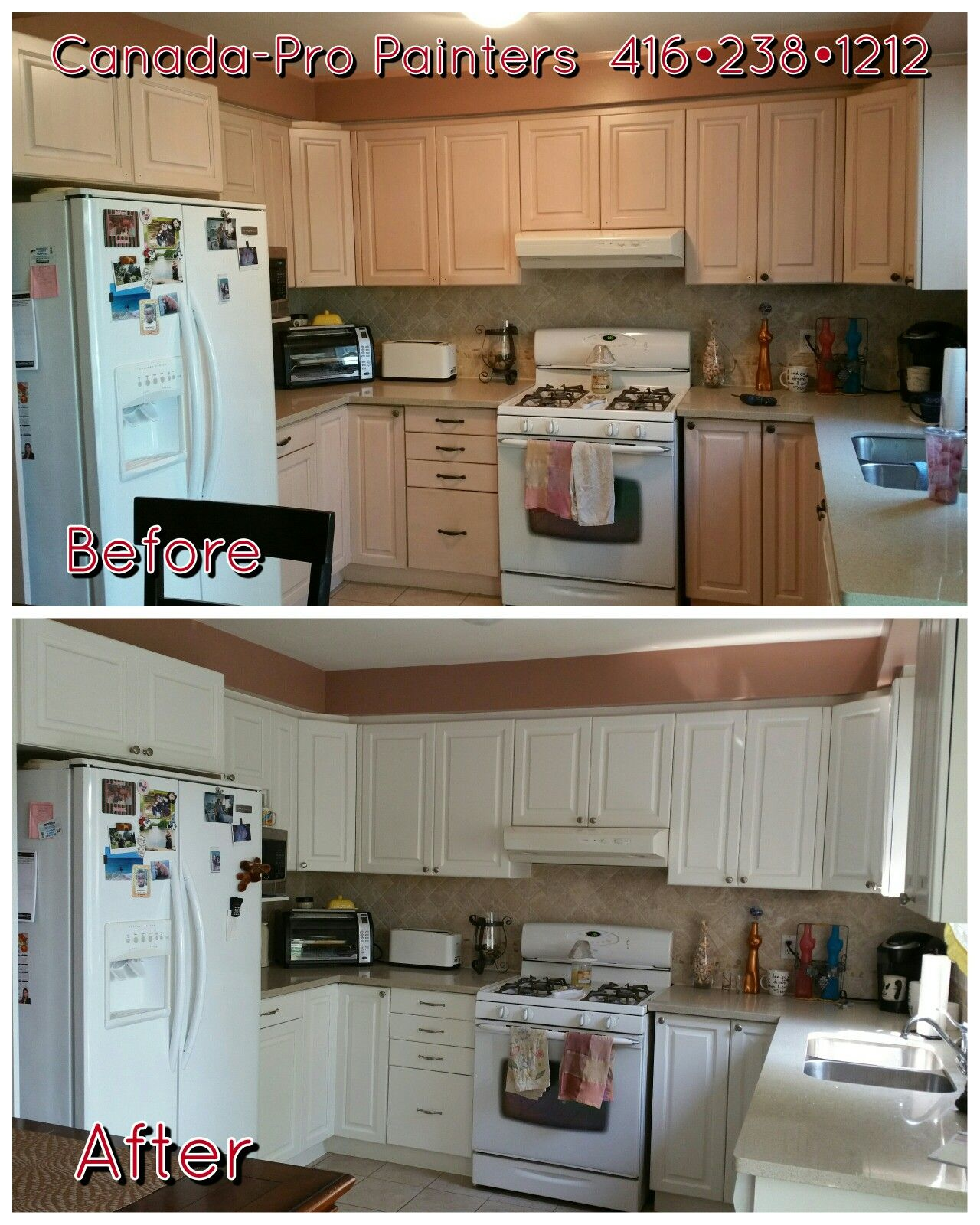 "White Kitchen Cabinets Refinishing: Outdated Kitchen Cabinets Repainted Benjamin Moore ""cloud"