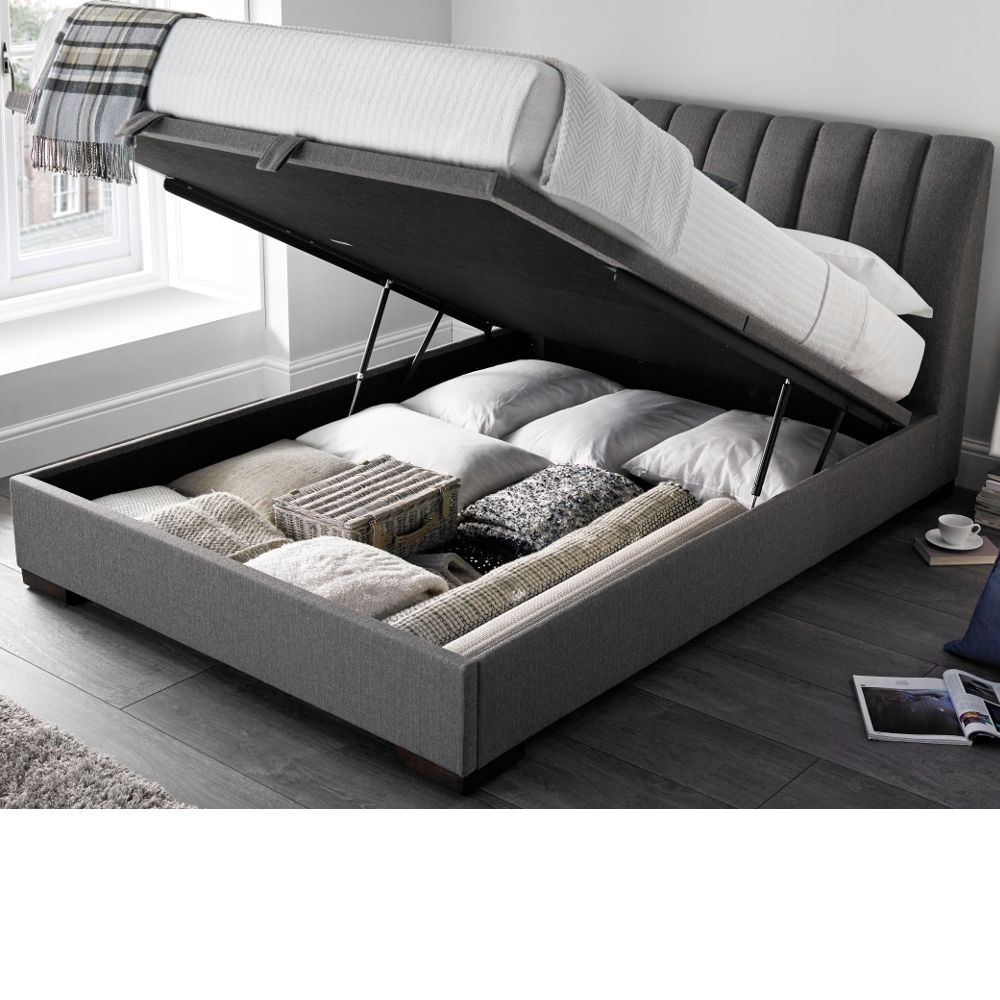 Lanchester Elephant Grey Fabric Ottoman Storage Bed Frame 5ft