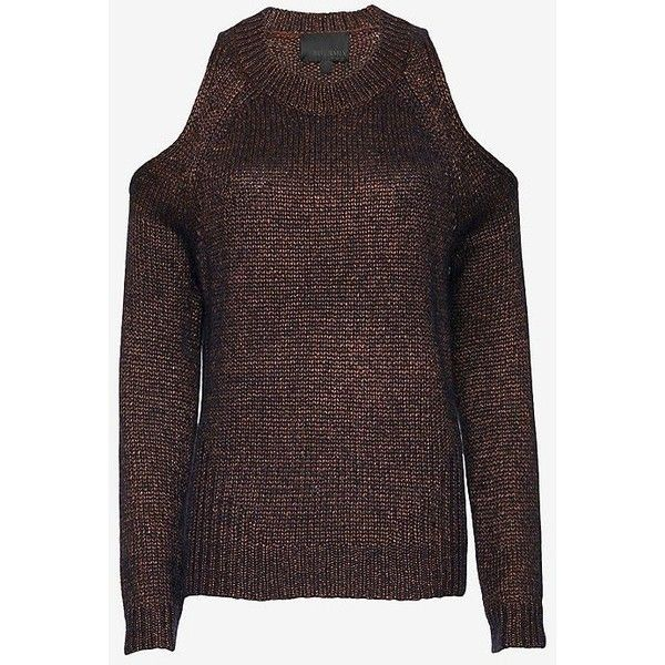 Exclusive for Intermix for Intermix Cold Shoulder Metallic Knit... ($285) ❤ liked on Polyvore featuring tops, sweaters, open shoulder top, red sweater, metallic top, cold shoulder sweater and red knit sweater