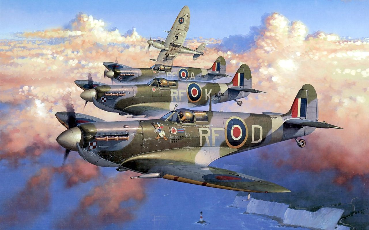 Image result for paintings raf spitfire