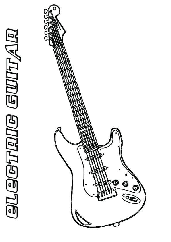 Print Coloring Image Momjunction Color Guitar Drawing Image