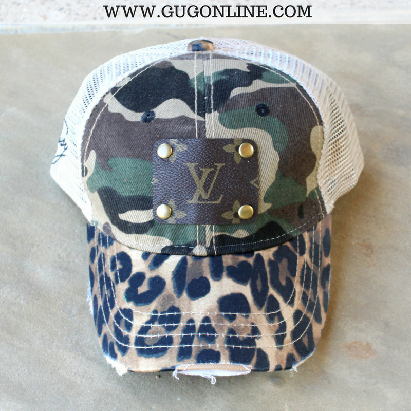 08f71c63cdc Louis Vuitton Embellished Camouflage and Leopard Print Cap