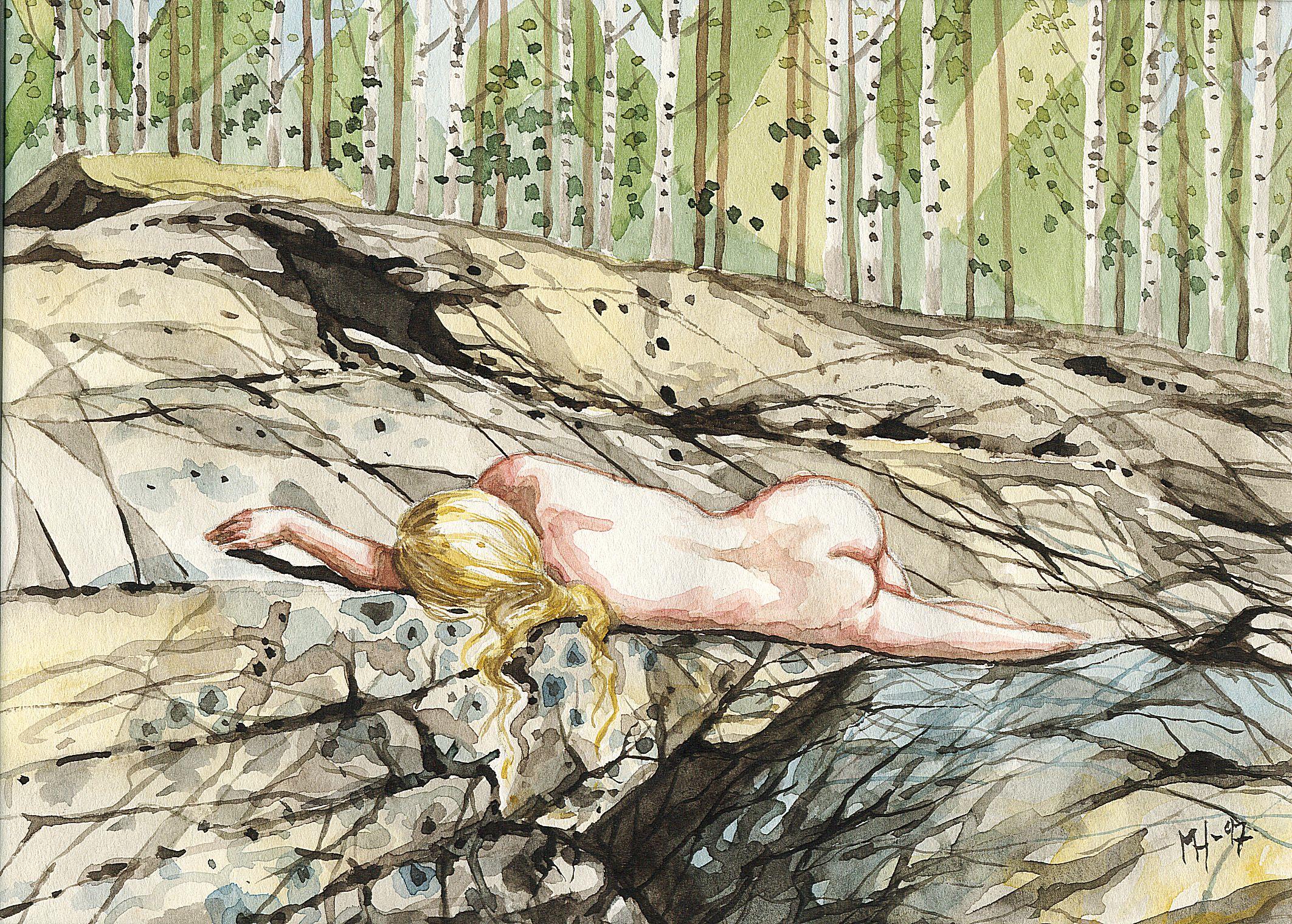 Nainen; omakuva-akvarelli
