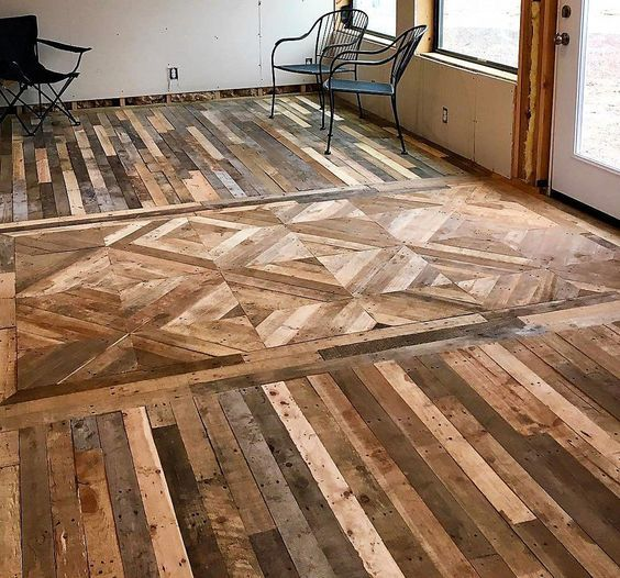 21 Splendidly Unique Flooring Options And Ideas For A Staggering Home With Images Wood Pallet Flooring Pallet Floors Wood Pallets