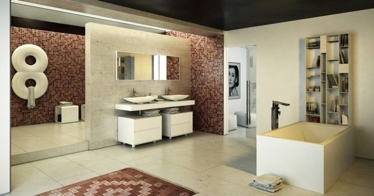 Bathroom, White Chest Of Drawers Brown Mosaic Tile Wall Cream Marble